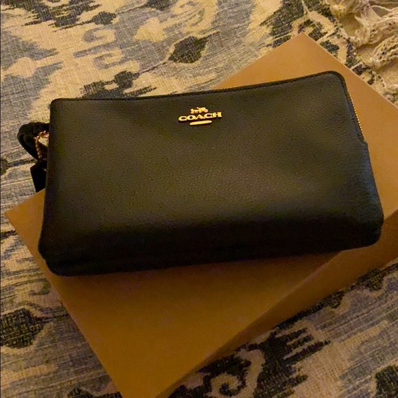 Black coach clutch with gold zipper NWot